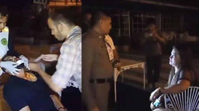 Тайская женщина откусила губу туристу на улице