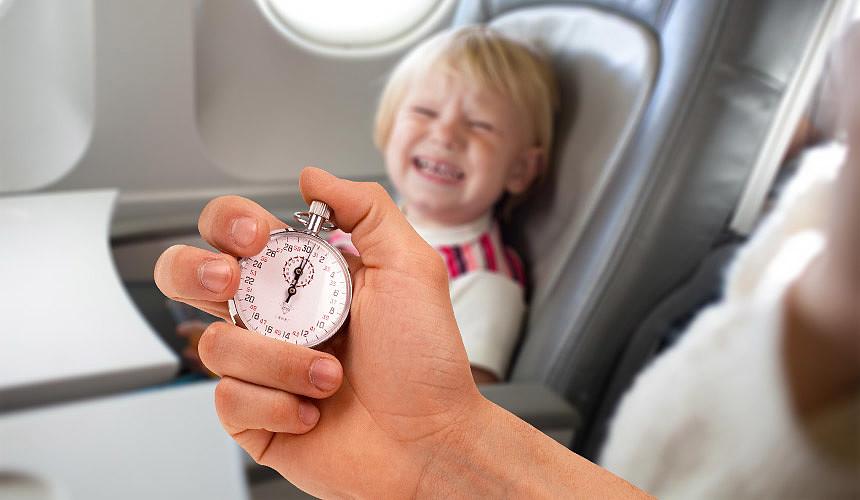 На каких рейсах можно плакать не более 5 минут?