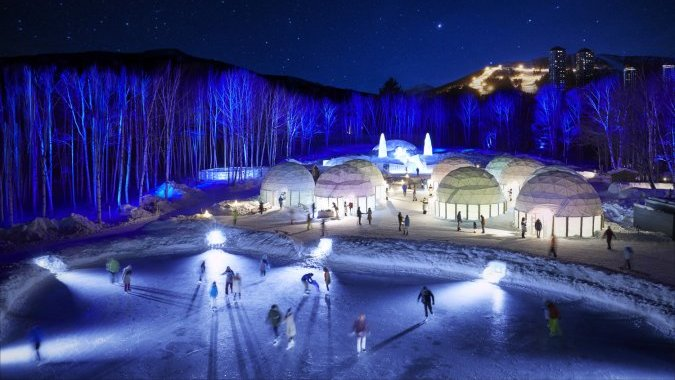 В Японии строят ледяную деревню с отелем, баром и часовней