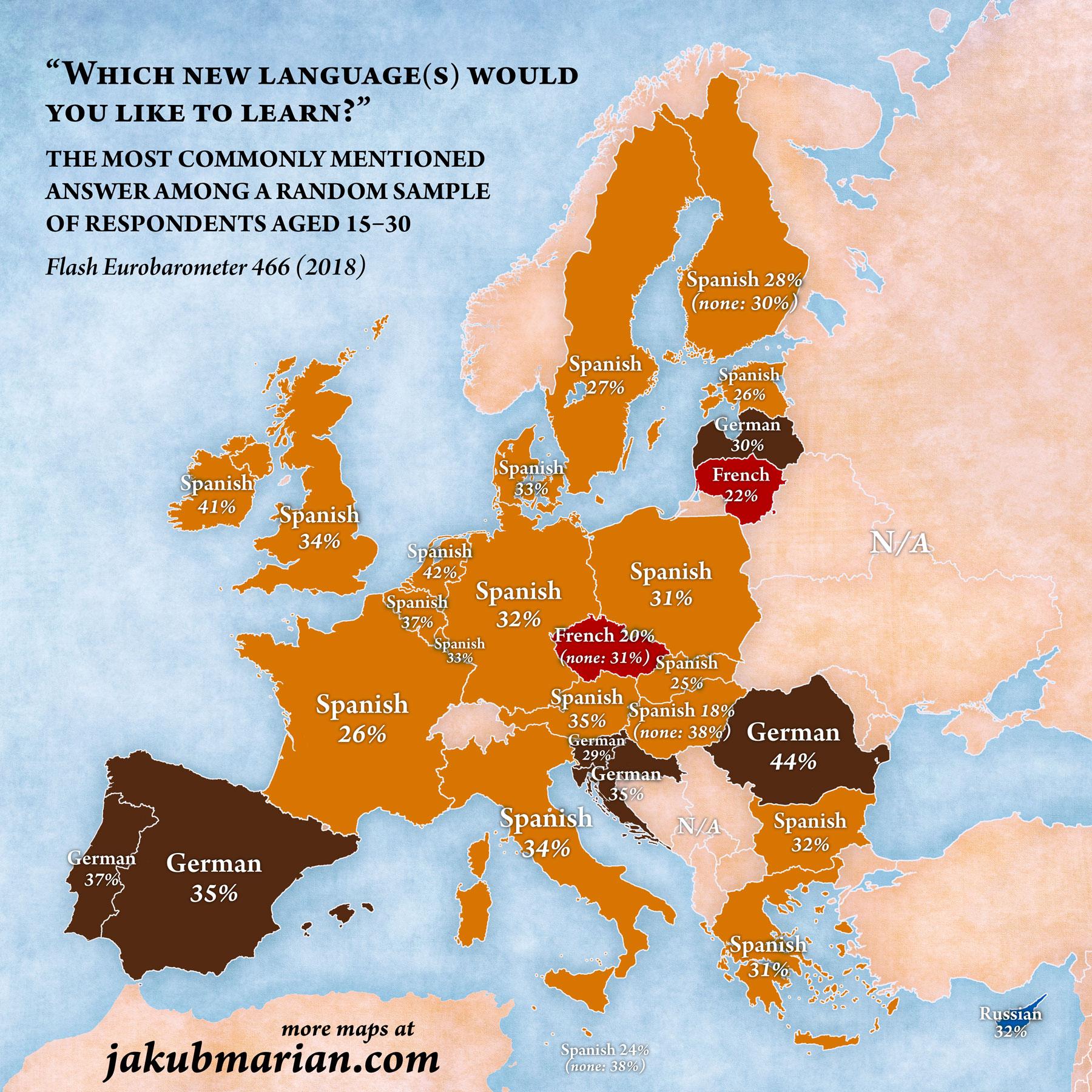 Испанский язык – самый желанный иностранный язык для европейской молодежи