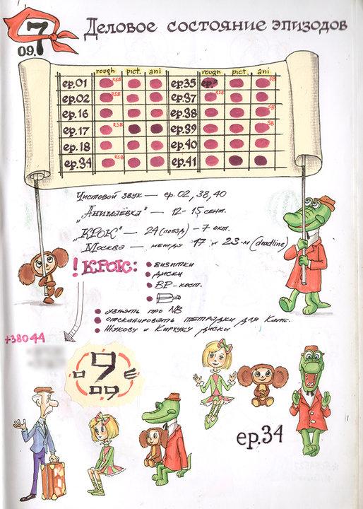 Из рабочей тетради №9 (2007-2009). Во время работы в Сеуле над Чебурашкой. Фото: личный архив Михаила Тумели