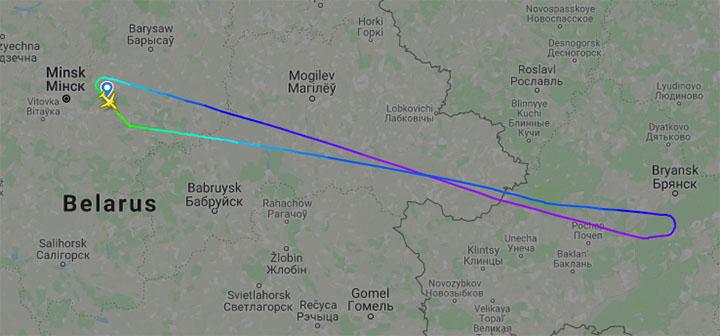 Самолет, который летел из Минска в Багдад, развернулся в районе Брянска и вернулся в Беларусь