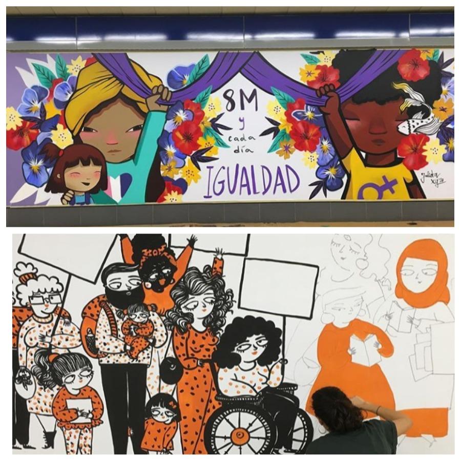Городское искусство, созданное женщинами в метро Мадрида