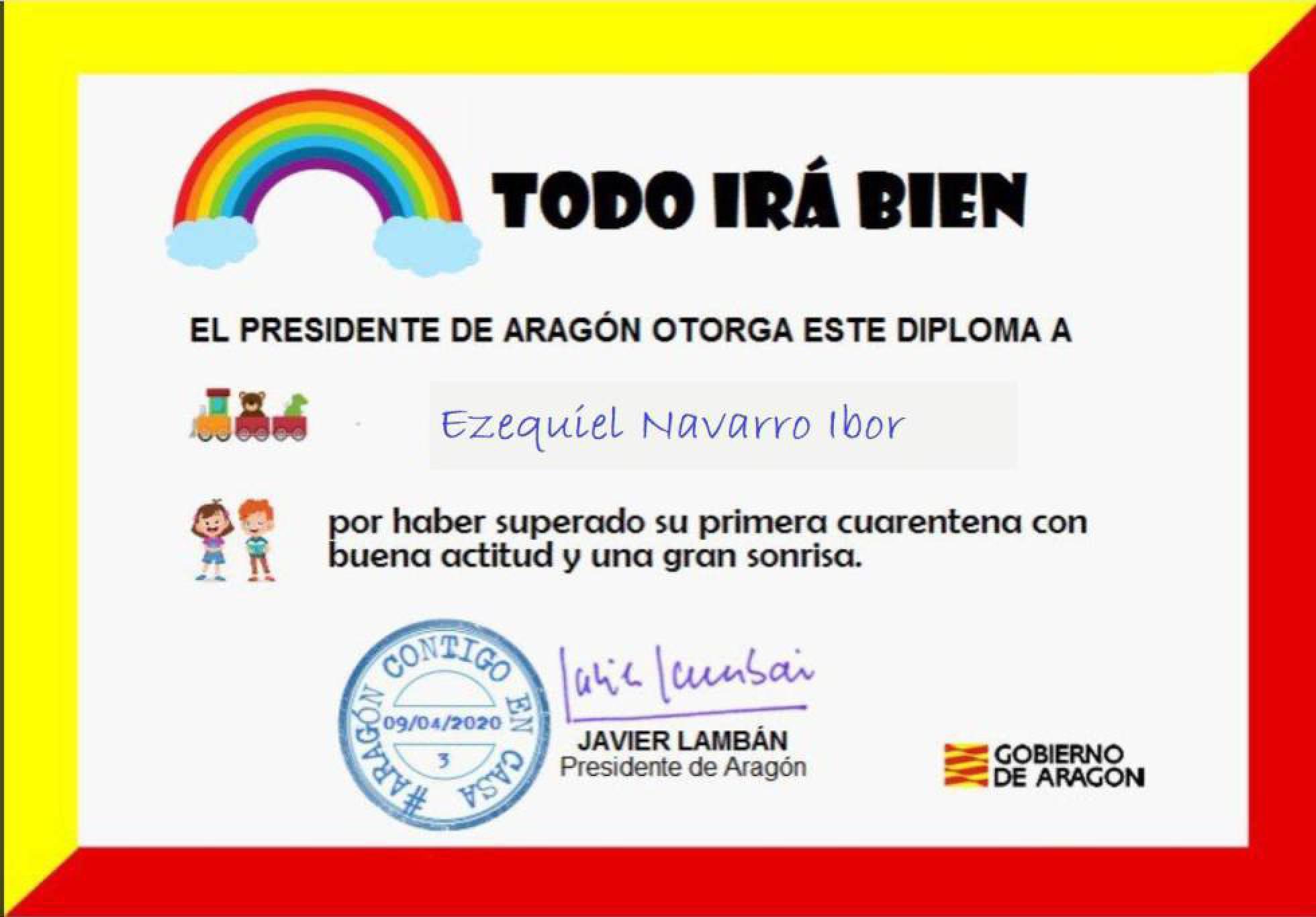 В Арагоне маленьких жителей радуют дипломами за терпение во время карантина