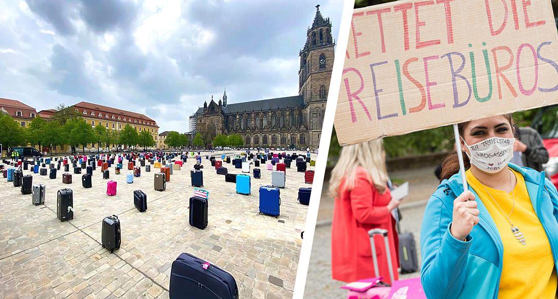 Чемоданная акция протеста: тысячи турагентов по всей Германии устроили бунт. ФОТО