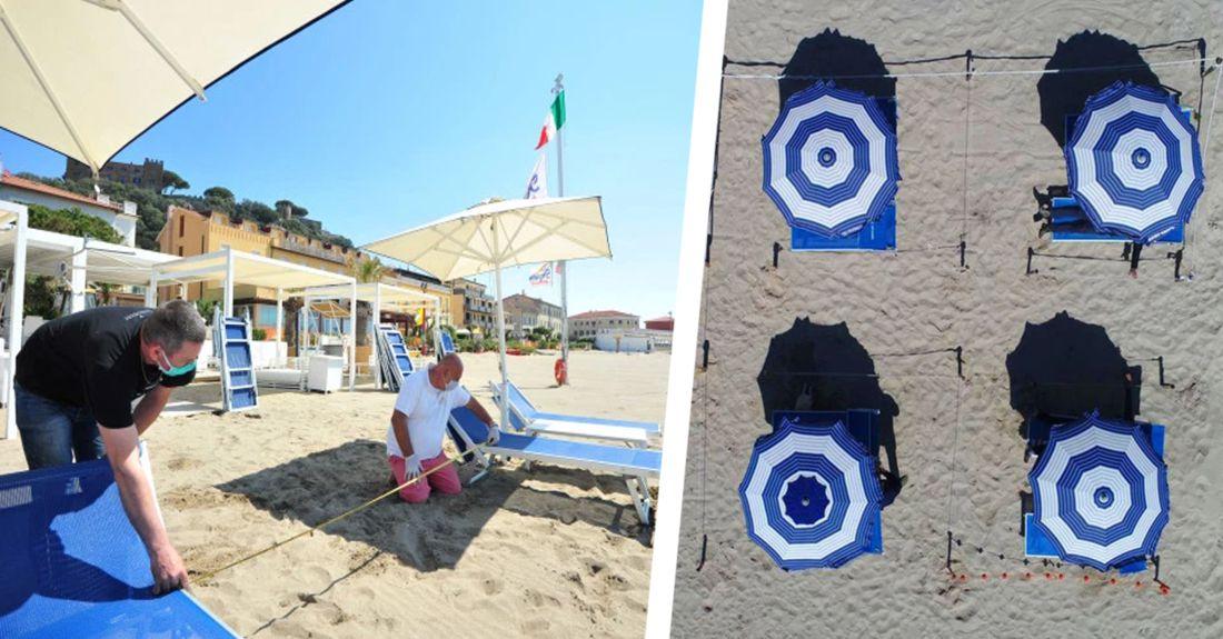 Полный дурдом: на итальянских пляжах используют верёвки для социального дистанцирования