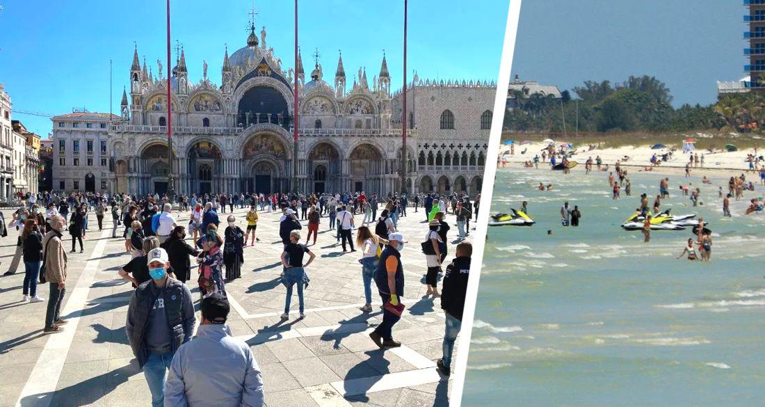 Туристические места Венеции и Барселоны после снятия карантина вновь заполнены людьми до предела. Фото