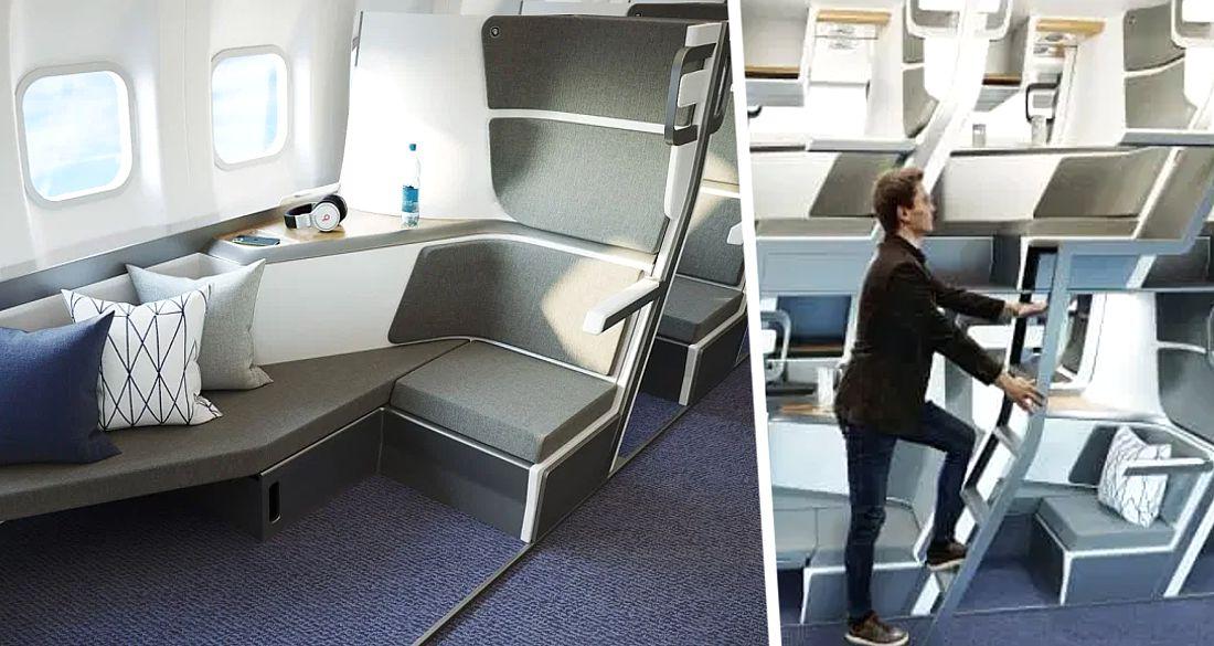 Для самолётов разработана двухъярусная компоновка кресел для пассажиров: фото
