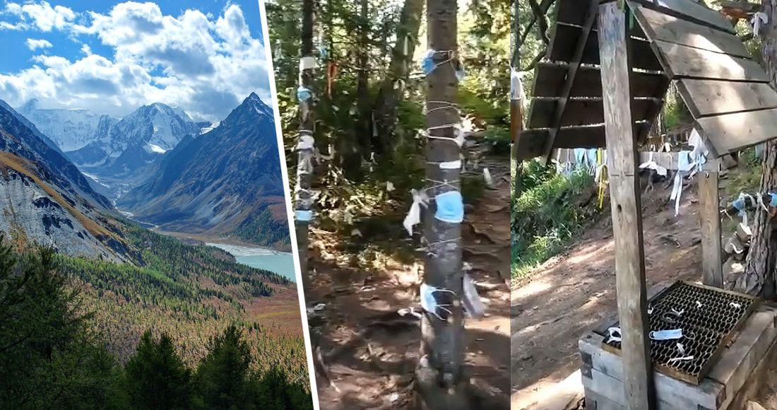 Туристы: медицинские маски в качестве «благодарности горным духам». ВИДЕО