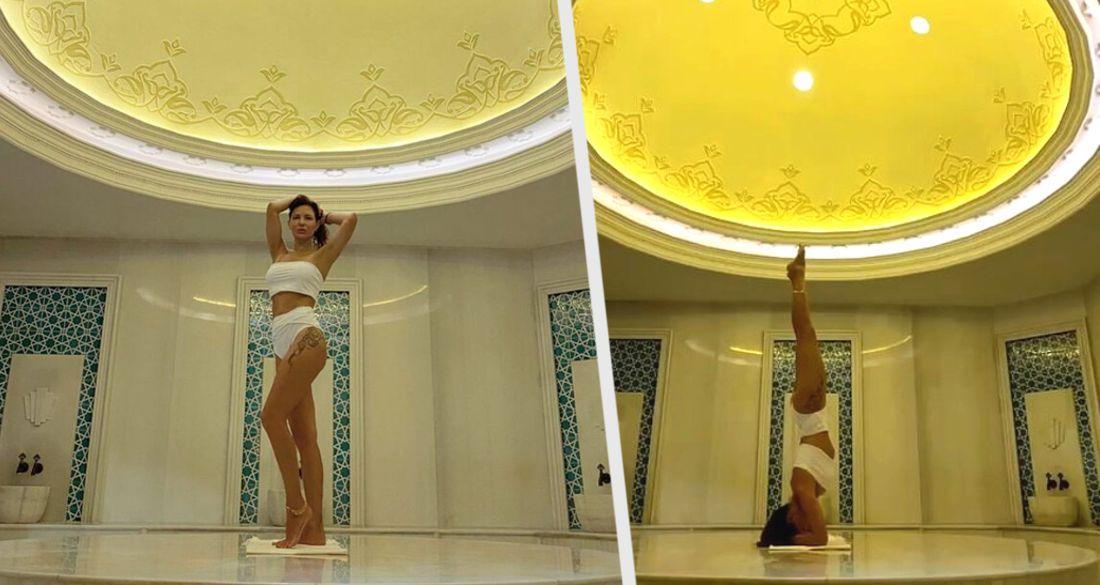 Екатерина Климова в сексуальном бикини встала на голову в бане турецкого отеля