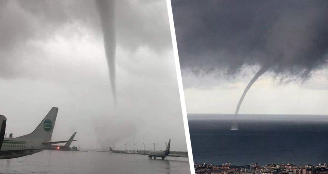 ϟ Туристов в Кемере напугал торнадо, обрушившийся на курорт. ВИДЕО