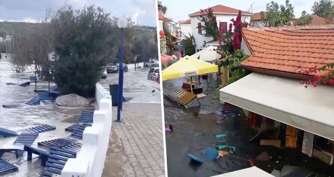 Цунами накрыло Измир во время землетрясения: улицы затопило на 1 метр. ВИДЕО