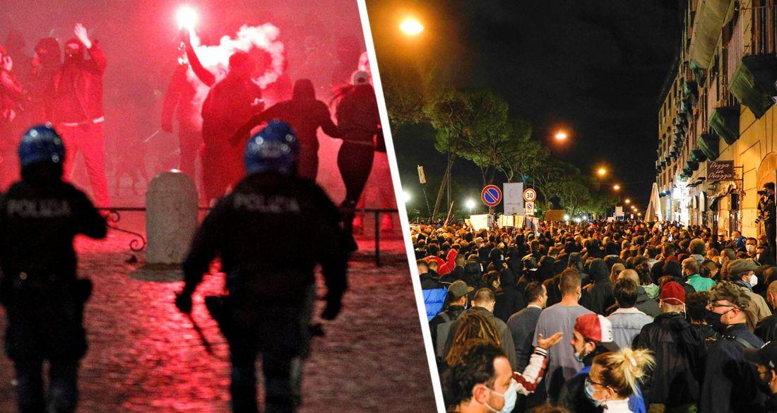 Неаполь идёт на баррикады: протесты против коронавирусных ограничений принимают свирепый характер