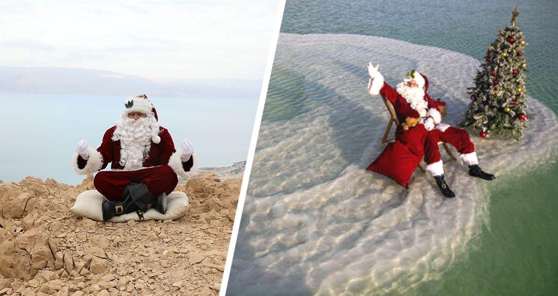 Посреди Мертвого моря установили рождественскую елку