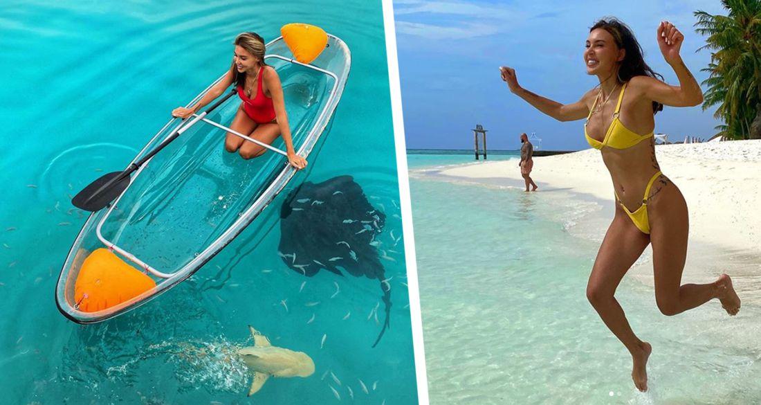 Оксана Самойлова на Мальдивах поплавала с опасными хищниками