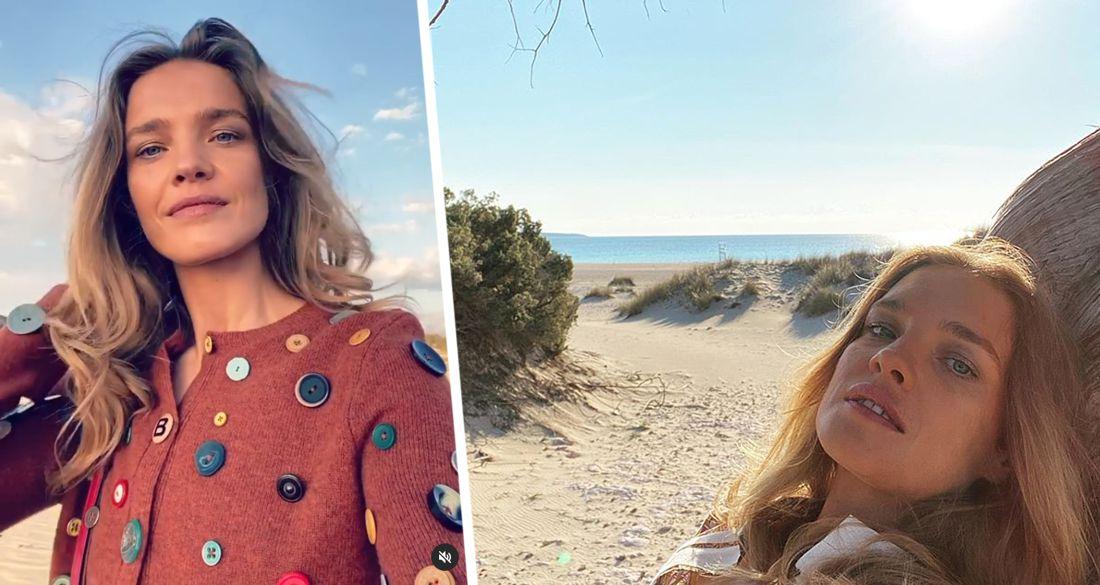 Наталья Водянова продемонстрировала необычный кардиган на пляже в Греции