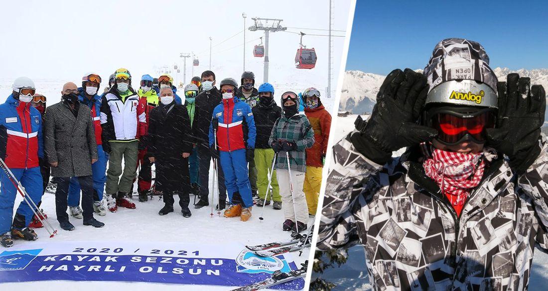 В Турции начался горнолыжный сезон: лыжники катаются в масках