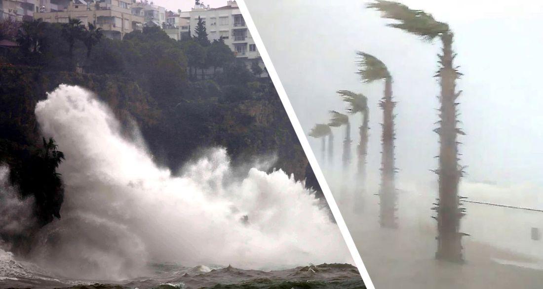 На Анталию обрушился сильный ветер и гигантские волны как цунами