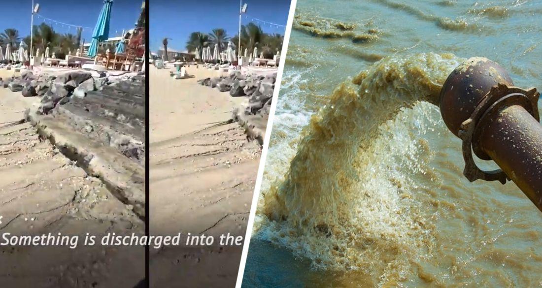 Российские туристы в Дубае устроили скандал из-за слива канализации прямо на пляже люксового отеля. ВИДЕО