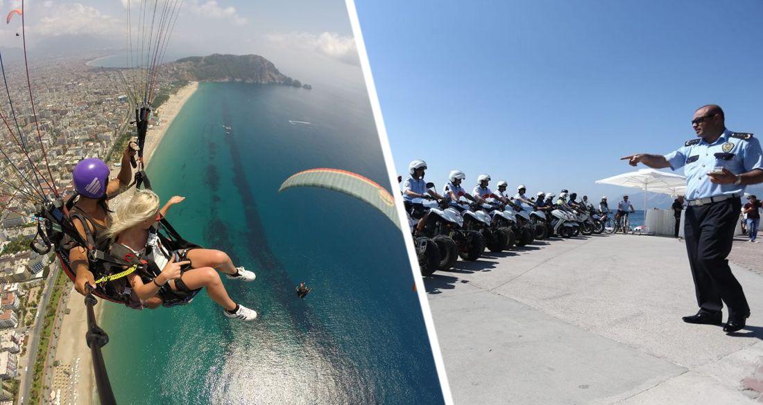 В Анталии полиция ловила туриста, летавшего на параплане во время комендантского часа. ВИДЕО