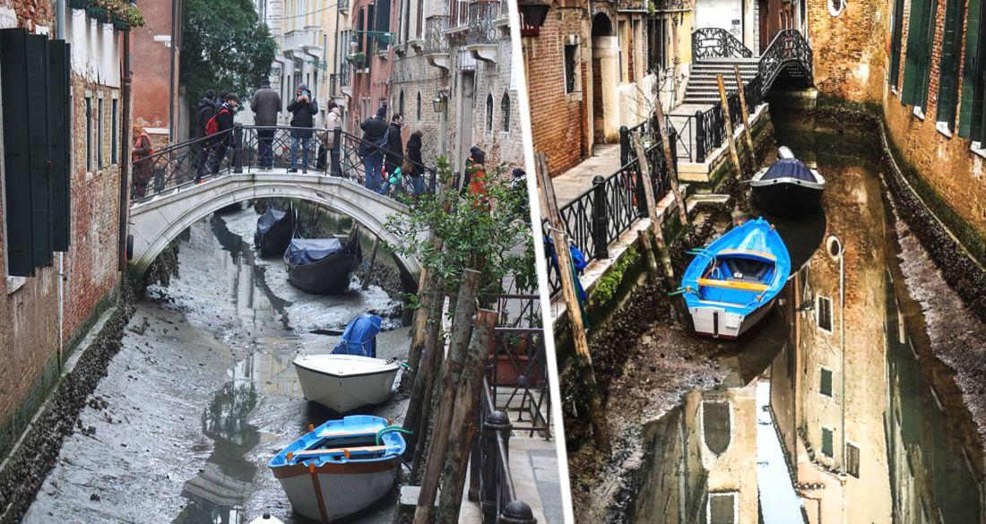Катастрофа в Италии: вслед за туристами каналы Венеции покинула вода. ВИДЕО