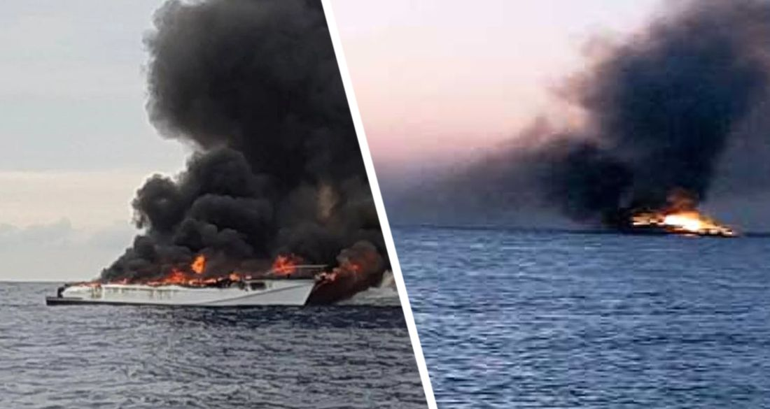 Под Хургадой сгорела яхта вместе с туристами