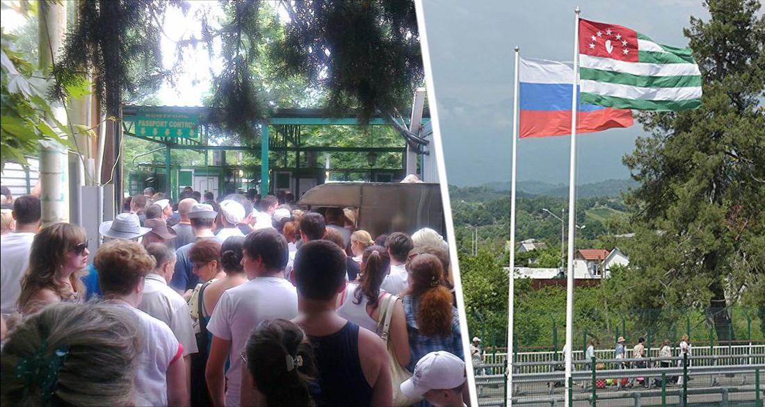 В Абхазию выстроилась гигантская очередь из российских туристов: видео