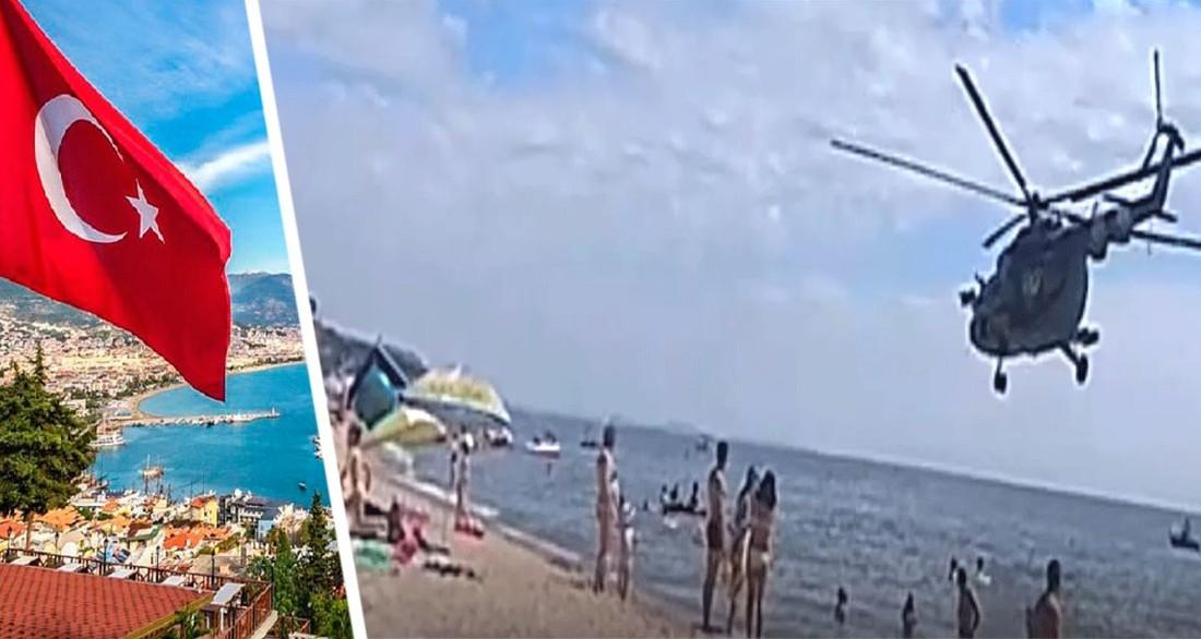 В Турции вертолет сел на пляже отеля между загорающими туристами: отдыхающие в шоке, началось расследование
