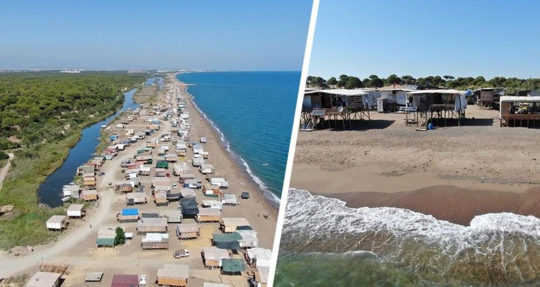 В Турции началось круглосуточное лежбище: пляжи Анталии в районе 5-звездочных отелей усеяны палатками и лачугами туристов