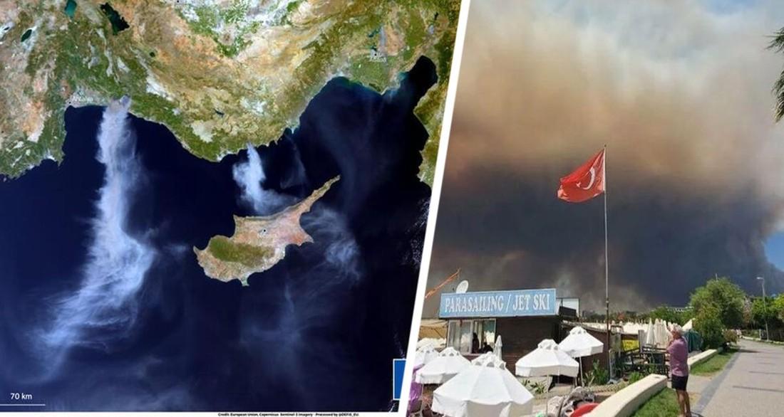 Как задыхались курорты Турции: дым от пожара достиг Кипра. Опубликованы фото