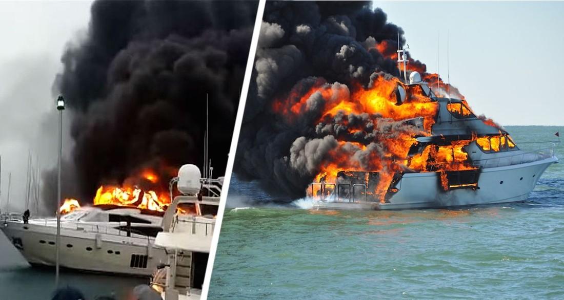 В Анталии сгорел большой туристический катер