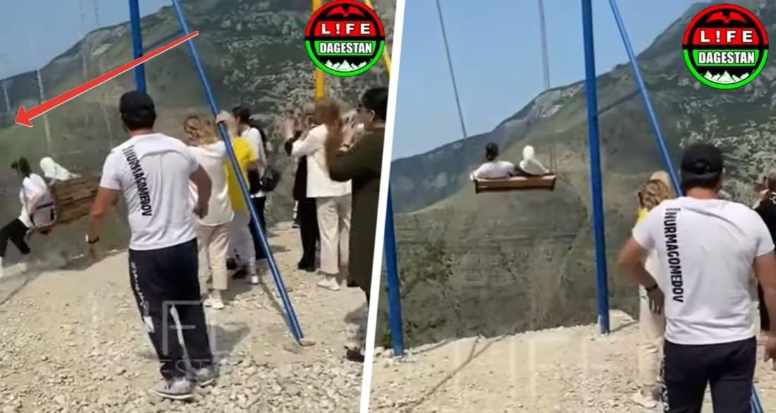Туристки улетели в пропасть вместе с аттракционом: опубликовано вирусное видео