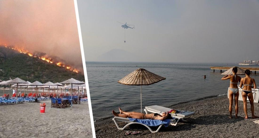 На курортах распространяется паника: пожары в Турции потушить не удалось, огонь перекинулся на Анталию и Аланию