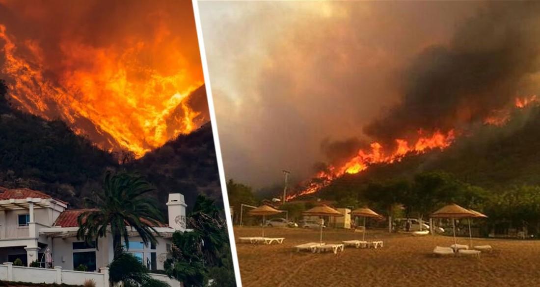 На популярных курортах Средиземноморья вспыхнули пожары: тысячи людей спасаются бегством